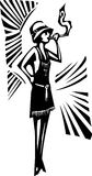 Flapper. Woodcut syle image of a woman in a flapper dress smoking Royalty Free Stock Images