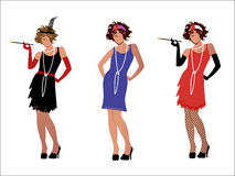 Flappers. Three flapper girls fun and different options vector illustration