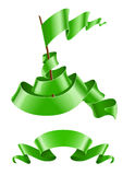 Flapping flag and ribbon green colour Royalty Free Stock Photo