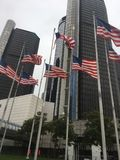 Flapping Flags USA. Shot Downtown Detroit in the fall of '16 stock photo