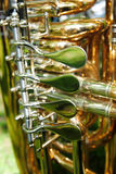 Flaps on horn. Flaps on a brass horn, detail of flaps only Stock Photography