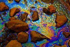 Flaque d'huile - pollution - catastrophe écologique Photos libres de droits