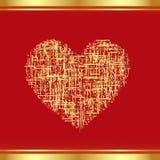 Flard-hart in goud stock illustratie