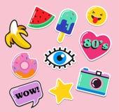 Flarden, de spelden, de kentekens en de stickers van de pop-artmanier de elegante Royalty-vrije Stock Foto's