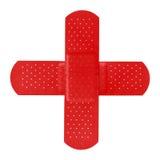 Flarden die een rood kruis vormen Stock Afbeeldingen