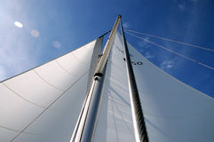 Flare. Sun flare perspective - sailing on a sunny day Royalty Free Stock Photo