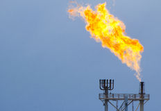 Flare burn. Gas or flare burn on offshore platform Stock Photography