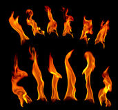 Flare fire on a black background stock images