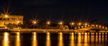 Flare light. Night view with flare light on Chao Phraya River at Bangkok , Thailand Royalty Free Stock Images