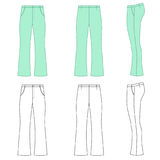 Flare man pants. Man outlined template skinny flare pants front, side & back view, vector illustration isolated on white background Stock Photos