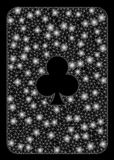 Flare Mesh 2D Clubs Playing Card with Flare Spots. Flare mesh clubs playing card with glare effect. Abstract illuminated model of clubs playing card icon. Shiny vector illustration
