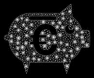 Flare Mesh Network Euro Piggy Bank with Flare Spots. Glowing mesh Euro piggy bank with sparkle effect. Abstract illuminated model of Euro piggy bank icon. Shiny vector illustration