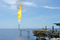 Flare at an offshore platform Stock Photography