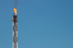 Flare on refinery Royalty Free Stock Photos