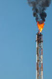 Flare on refinery Royalty Free Stock Image