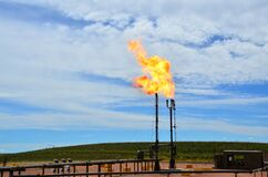 A flare stack burning off natural gas in North Dakota.