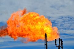 A flare stack burning off natural gas.