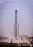 Flare stack at oil refinery Royalty Free Stock Image