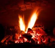 Flare in stove Stock Photo