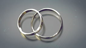 Flare wedding rings. Close up stock video footage