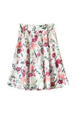 Flared skirt isolated. Colorful floral printed flared skirt on white background Stock Photography