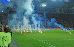 Flares on the field. Stock Photos