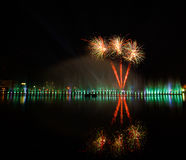 Flares and fireworks show. Fireworks light water park Nong Prajak Udon countries Thailand Stock Photo