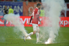 Flares on football pitch Royalty Free Stock Image