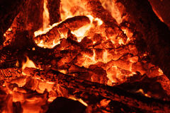 Flaring heat fire and coals Royalty Free Stock Photography