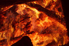 Flaring heat fire and coals Royalty Free Stock Image