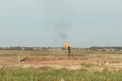 Flaring Natural Gas. In North Dakota Stock Photos