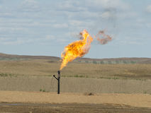 Flaring Natural Gas. In North Dakota Stock Photography