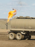 Flaring Natural Gas. In North Dakota Stock Photo