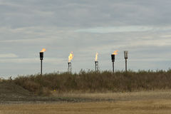 Flaring Natural Gas. From a North Dakota Oil well Stock Photography