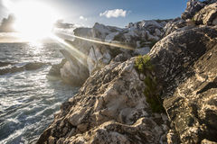 Flaring Sun. A flaring sun lights the ocean and rocks Royalty Free Stock Photo