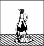 Flasche Öl und Oliven Stockfotos