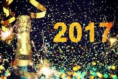 Flasche Champagner Glückliches neues Jahr Lizenzfreie Stockbilder