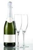 Flasche Champagner mit unbelegtem Kennsatz Stockfotografie