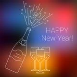 Flasche der Champagnerexplosion und Gläser auf unscharfem Hintergrund Stockfotografie