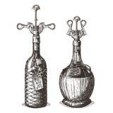Flasche der Weinvektorlogo-Designschablone lizenzfreie abbildung