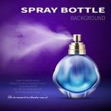 Flasche des desodorierenden Mittels mit förderndem Vektorhintergrund lichtdurchlässigen Wassersprühnebel Produktes Lizenzfreies Stockfoto