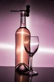 Flasche des Weinglases und des Korkenziehers Lizenzfreie Stockbilder