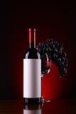Flasche des Weins und der Traube Lizenzfreies Stockfoto