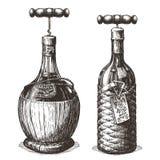 Flasche des Weins und des Korkenziehers auf einem Weiß stock abbildung