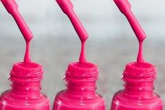 Flasche Lack für die Fingernägel Frauen ` s Acrylfarbe, Gelfarbe für Nägel Gummilackmischfarben für Fingernägel Sorgfalt für wome Stockfoto