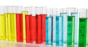 Flasche mit Chemieflüssigkeit Stockbild
