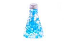 Flasche mit dem Hydrogel lokalisiert Stockbilder