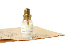 Flasche mit einer Verordnung Stockfoto