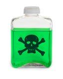 Flasche mit grüner giftiger chemischer Lösung Stockbilder
