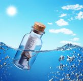 Flasche mit Hilfenmeldung. Stockbilder